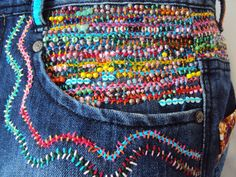 Stunning Beaded Embroidered Jean Large Tote