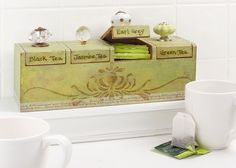 Wooden Tea Box with Knobs