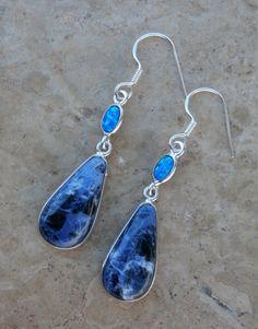 Dark Blue Earrings / Blue Fire Opal / Sodalite / Sterling Silver $47 by AleaMariCo