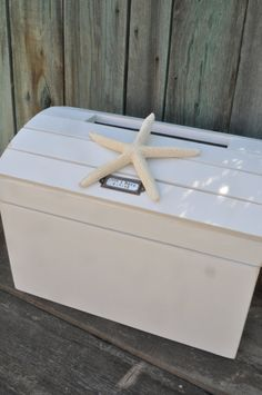 Personalized Beach Wedding Card Box Seashell by heartifactsgallery, $79.00