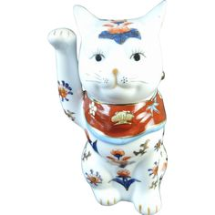 Japanese Vintage Arita-yaki Imari Porcelain Large Okimono or Statue of Maneki-Neko 招き猫,  From The Many Faces of Japan! at @meredith2504 on Ruby Lane