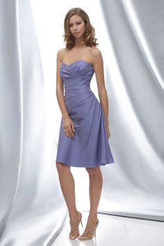 WTOO 624 Bellflower sculpted strapless luminescent taffeta above the knee length dress with side drapes  #timelesstreasure