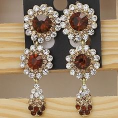 Wedding Round Pierced Dangler Earring Austrian Crystal BROWN