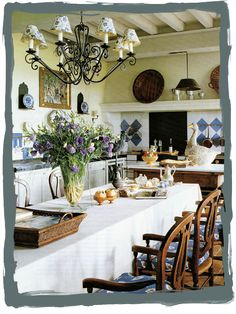 The kitchen in the home of Ginny Magher, an Atlanta-based interior designer who bought and restored an ancient farmhouse in Provence with the help of Lafourcade Architects