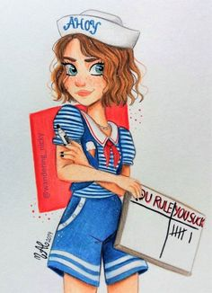 Stranger Things Scoops Ahoy Robin by Nicky Ariansen, wandering_nicky, You Rule You Suck, Maya Hawke, Season 3 Stranger Things Netflix, Stranger Things Tumblr, Stranger Things Actors, Stranger Things Have Happened, Stranger Things Aesthetic, Stranger Things Season 3, Eleven Stranger Things, Stranger Danger, Cute Drawings