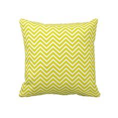 Sunshine Yellow and White Chevron Pillow #yellow #chevron #pillow #home #zazzle #decor #kids