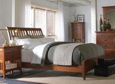 Modern Shaker Sleigh Bedroom Set in Cherry Finish