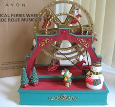 Christmas Musical Ferris Wheel Lighted Decoration Ceramic by Avon Large NIB OOP