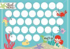 Mermaid printable reward chart by Key Lime