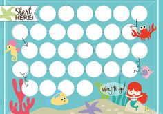 Mermaid printable reward chart by Key Lime