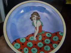 Fabulous RARE Noritake Porcelain Art Deco Compote with Deco Lady Girl