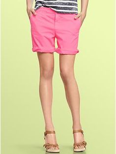 Neon boyfriend roll-up shorts | Gap  Love these, must try them on!  :)  @Kelsey Brockmeyer @Marcia Brockmeyer