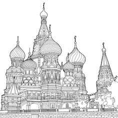 "Adult coloring book featuring the world's best architecture - ""Fantastic Structures"" by Steve McDonald Davlin Publishing Coloring Book Pages, Coloring Sheets, Art Sketches, Art Drawings, Creation Art, Printable Coloring, Free Coloring, Line Art, Illustration"