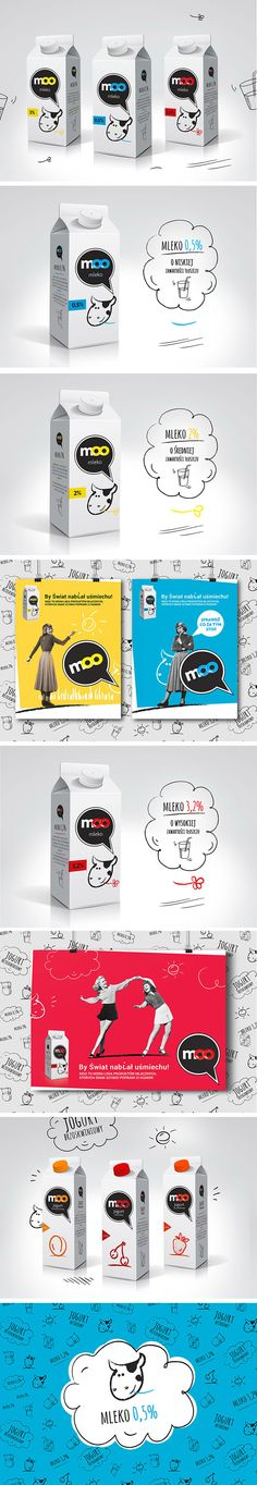 MOO milk. Logo design and a series of milk products packaging, naming, logo, illustration, for milk and yoghurt. Designed by: Danuta Raczkowska