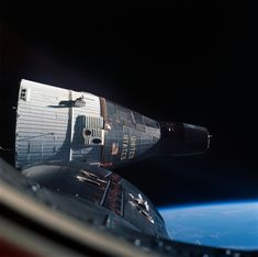 View of Gemini VII spacecraft from Gemini VI-A spacecraft during the first space rendezvous on December 15, 1965. Photo credit: NASA