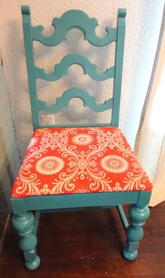 Got to find me a chair to redo just like this.  Orange and Teal?  Oh yes!