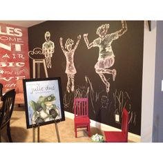 Cincinnati Homerama. Playroom chalkboard wall with drawings of children playing.