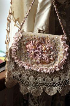 Lily romantic embroidered purse vintage trims by FleursBoheme