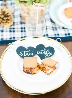 Navy & Gold Campfire Baby Shower, chalkboard heart place cards by POPPYjack Shop - Inspired by This