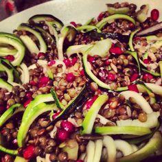 Spiraliser courgette lentil and pomegranate
