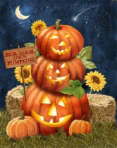 Pick Your Own by Gloria West - jack-a-lanterns trio - Halloween iPhone wallpaper background holiday Halloween art - lock screen