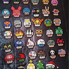 Mario mushroom collection hama beads by katjanpostiii
