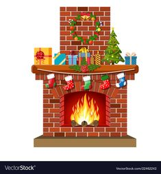 Red brick classic fireplace with socks, christmas tree, candle balls gifts and wreath. Happy new year decoration. New year and xmas celebration. Christmas Rock, Christmas Fireplace, Cozy Christmas, Xmas, New Years Decorations, Christmas Decorations, Classic Fireplace, Flat Style, Christmas Clipart