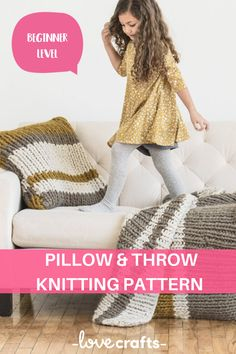 Knit up a super cozy blanket with a cushion cover to match! This is a great big beginner project - the results are definitely worth it. | Downloadable PDF at LoveCrafts.com