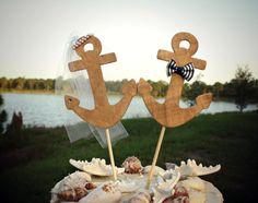 Navy weddingAnchors Away wedding cake by MorganTheCreator on Etsy, $28.00