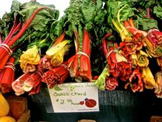 a rainbow of swiss chard at Copley Square, Boston ~#farmersmarket #food #nutrition #health