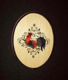 Gallic Rooster Country Kitchen Wall Decor/Embroidery on Balsa Wood by WitchezStitchez on Etsy