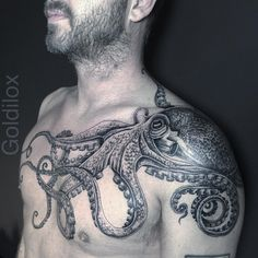 "330 Likes, 8 Comments - @goldiloxtattooer on Instagram: ""#octopus for Ben. The start of a much bigger project... #octopustattoo"""