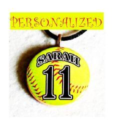 Personalized Handmade Softball Necklace Sports by sherrollsdesigns, $9.79