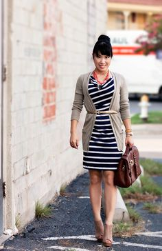 Wear your favorite casual dress with a sweater, belt and necklace for an instantly updated business casual look!