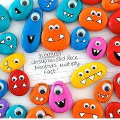 Painted rocks, diy gifts, summer crafts for kids, projects for kids, diy fo Rock Painting Patterns, Rock Painting Ideas Easy, Rock Painting Designs, Summer Crafts For Kids, Projects For Kids, Kids Diy, Rock Crafts, Arts And Crafts, Monster Rocks