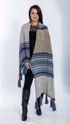 Wool wrap Knitted shawl wrap Chunky winter wool by MyCozyBoutique