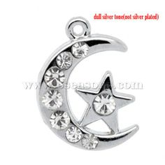 Wholesale Silver Tone Rhinestone Moon &Star Charm Pendants 20x14mm, Sold Per Pack Of 10 from China Supplier – 8seasons.com
