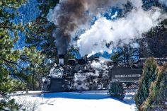 Durango & Silverton Narrow Guage Railroad Engine 486 pulling it's way up the Animas River Valley headed towards Rockwood in Winter. Photo by Craig Swancy. www.jeffreymarkell.com #ineedajob #hireme #salestrainer