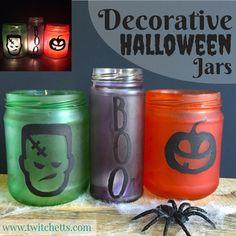 Decorative Halloween Jars.  Fun holiday upcycle craft!