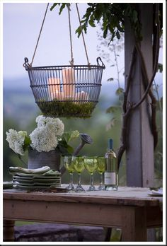 Hanging Wire Basket Candle Chandelier  with Candles and Spanish Moss
