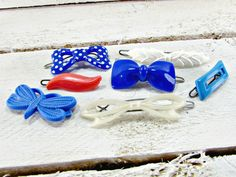 Vintage Girls Hair Clip Barrette Set, Red White Blue Hair Barrette Clips, Plastic Hair Clip Barrette, 1970s Spring Summer Hair Accessories by RedGarnetVintage