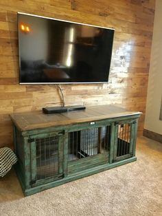 Buy Luxury Dog Kennels and Stylish Dog Crates from Kennel & Crate Turquoise distressed double indoor dog kennel. Our double kennels feature and inside center door t Dog Crate End Table, Diy Dog Crate, Dog Kennel End Table, Wood Dog Crate, Luxury Dog Kennels, Dog Crate Furniture, House Furniture, Furniture Dog Kennel, Furniture Design