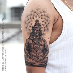 "Lord Shiva with Dotwork Tattoo by Sunny Bhanushali, Aliens Tattoo, India. Did this tattoo on ""TOUR to PUNE"". First tattoo of this tour and its just awesome. Client was sure about the lord shiva theme however he was keen on adding dotwork as he liked my wo Buddha Tattoo Design, Shiva Tattoo Design, Buddha Tattoos, Hindu Tattoos, Religious Tattoos, Tatto Ganesha, Arm Tattoo, Sleeve Tattoos, Mahadev Tattoo"