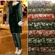 Embroidered velvet kameez with jamawar trousers Shadi Dresses, Pakistani Formal Dresses, Pakistani Wedding Outfits, Pakistani Dress Design, Indian Dresses, Indian Outfits, Trajes Pakistani, Velvet Dress Designs, Pakistan Fashion