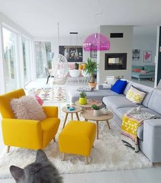Home Interior Design .Home Interior Design Living Room Decor Colors, Colourful Living Room, Room Colors, Living Room Designs, Colorful Rooms, Retro Living Rooms, Paint Colors, Home Living Room, Apartment Living