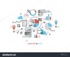 Тонкая линия плоская конструкция статистики бизнес-график, большой анализ данных, глобальные аналитика SEO, доклад о финансовой исследование, рынка статистика.  Современная концепция векторные иллюстрации, изолированных на белом фоне.