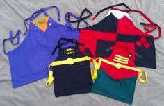 Batman Aprons Family Pack by hatzNthangz on Etsy, $99.99. Nerdy apron, Joker apron, Harley Quinn apron, Batman apron, Robin apron.