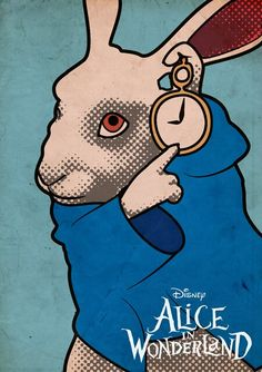Alice in Wonderland - White Rabbit Pop Art