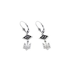 These elegant .925 sterling silver earrings, featuring a square rushnyk and Ukrainian Tryzub design, are available in red, blue or pink.