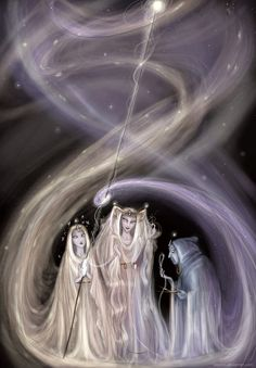 """The Greek mythology """"Moirai"""", also known as """"the Fates"""" (""""Parcae"""" for the Romans) Clotho (Cloto), the """"spinner"""": spins the thread of life onto her spindle. She represents the beginning of life. Lachesis (Láquesis), the """"disposer"""":measures the thread of life allotted to each person with her measuring rod.  Atropos  represents death and she's the cutter of the thread of life. Her shears were feared and called """"abhorred"""", but they were also golden ones"""